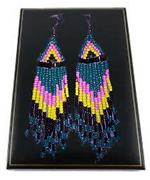 A1 SOUTHWEST EARRINGS 4 in.Teal, Black, Pink & Yellow These beautiful earrings are Teal, Black, Pink & Yellow and approximately 4 inches long and will be noticed wherever they're worn.