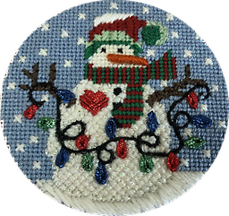 July 2019 Snow Person Exclusive Diversions Needlepoint hand painted canvas, threads and stitch guide by Mary Lou Kidder. SHIPPING INCLUDED!