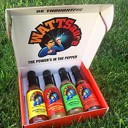 WATTSauce Gift Set (4 Sauces) Gift Box includes 1 of each: Sriracha Surge, Amped-Up Ale, Chipotle Charge and MegaWATT Mango.