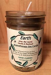 EARTH Aromatherapy Soy Candle Clean Burning Soy Candles with 100% Pure Essential Oils of LIME, BAY, VANILLA & PATCHOULI. Brown candle with Earthy/Herbal Aroma!