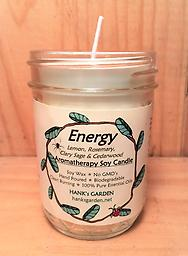 ENERGY Aromatherapy Soy Candle-25% off Clean Burning Soy Candles with 100% Pure Essential Oils of LEMON, ROSEMARY, CLARY SAGE & CEDARWOOD. White candle with Woodsy, Herbal Aroma!