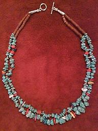 "#3 ""DOUBLE STRAND TURQUOISE NECKLACE"" Double strand turquoise nugget, gems & shell necklace; Approximately 21 inches long, can be layered with others."