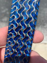 """3D wave 6""""x 6""""x 1/4"""" 3D printed wave pattern encased in your choice of colored resin."""