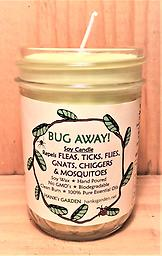BUG AWAY! Insect Repelling Soy Candle Repels FLEAS, TICKS, FLIES, GNATS & MOSQUITOES - Soy Wax - Hand Poured - Non GMO - Natural Dyes & Wicks- Biodegradable- Clean Burn-100% Pure Essential Oils-Easy Clean Up