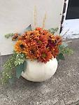 large pumpkin - real large pumpkin with fall mums and daisies