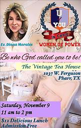 Luncheon Ticket for U of You in Christ Women's Meeting Nov. 9, 2019 Luncheon Plate includes Iced Tea.