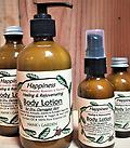 HAPPINESS Healing Body Lotion - for Dry, Damaged Skin - Essential Oils of Grapefruit, Lavender, Rosemary & Patchouli - Oils of Macadamia Nut, Avocado, Argan, Jojoba & Pumpkin Seed - Organic - Biodegradable - Vegan - Non GMO