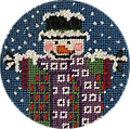 November 2019 Snow Person - Exclusive Diversions Needlepoint hand painted canvas, threads and stitch guide by Mary Lou Kidder. SHIPPING INCLUDED!