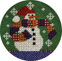 December 2019 Snow Person Exclusive Diversions Needlepoint hand painted canvas, threads and stitch guide by Mary Lou Kidder. SHIPPING INCLUDED!