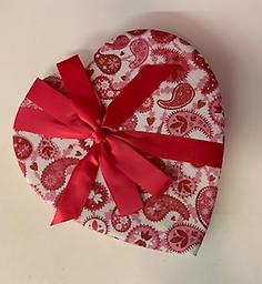Valentine Heart Pink Paisley Decorative fabric Valentine Hearts filled with 1lb assorted milk and dark chocolates.