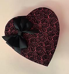 Valentine Heart Black Lace Decorative fabric Valentine Hearts filled with 7oz assorted milk and dark chocolates.