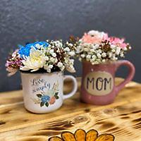 Coffee Mug Bouquet Coffee mug filled with designer choice of flowers