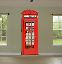 Red English Phone Booth Large Repositionable Wall Decal Red English Phone Booth Large Repositionable Wall Decal