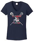 D - Vikings Short Sleeve Ladies' Cotton T-Shirt_Navy - Full Front Screen Print