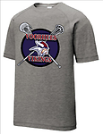 E - Vikings Tri-Blend Wicking Raglan Tee_Dark Heather Grey - Full Front Screen Print