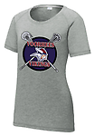 F - Vikings Ladies' Tri-Blend Wicking Scoop Neck Raglan Tee_Dark Heather Grey - Full Front Screen Print
