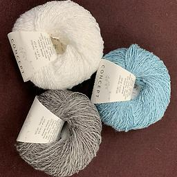 Summer Concept Shawl Kit - #3 3 skeins of Katia Concept Polynesia yarn (DK weight). Colors include: #60 - white, #66 - blue, #73 - grey Needles: US 5