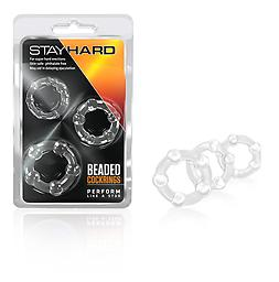 STAY HARD BEADED COCKRING High quality luxury adult toys for every body type and feel. Blush Novelties exclusive product line will blow you away. Beaded Cock Rings Clear. For super hard erections. May aid in delaying ejaculati
