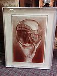 "MC Escher ""Hand With Reflecting Sphere"" Lithograph on Glass - Curbside Pickup - MC Escher ""Hand With Reflecting Sphere"" Lithograph on Glass 20.25"" X 16"" X 1"""