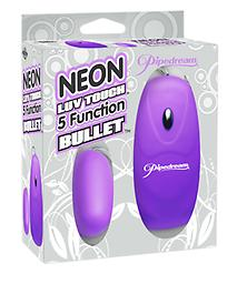 NEON 5 FUNCTION BULLET Get just the right touch of satisfaction with this Neon Luv Touch 5-Function Bullet. Available in Pink, Purple, and Blue
