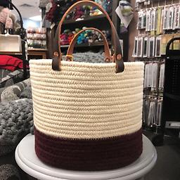 "Aalta USA Burgundy Cream Wool Basket Burgundy Cream Copper Hardware 10"" x 12"" PIck up in store and save on shipping. Give us a call to order instead."" 651-702-0880"
