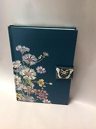 """Butterfly Journal - Curbside Pickup Navy blue journal with jeweled butterfly on clasp 8.5"""" tall"""