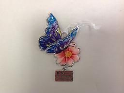 "Butterfly Ornament Mom - Curbside Pickup Colorful two sided butterfly charm/ornament with encouragement 4.25"" tall"