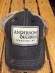 Anderson & Girls Distressed Ball Cap - One size fits most. Navy hat with tan screen back. Anderson & Girls Stanton, MI on patch on front.