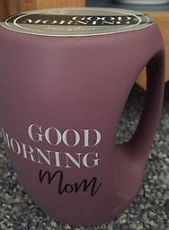 Good Morning Mom Mug Good Morning Mom light purple mug with a unique handle. Popular Mother's Day item in 2019.