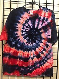 XL Short Sleeve red and blue Unisex 100% Cotton