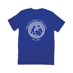 Blue Grolier T-shirt The t-shirt comes in blue with our signature cat logo on the front and a quote from the late Ifeanyi Menkiti, owner of Grolier from 2006-2019, on the back.