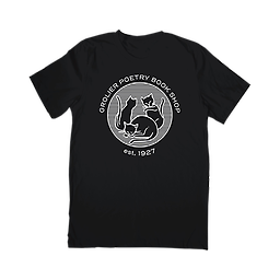 Black Grolier T-shirt The t-shirt comes in black with our signature cat logo on the front and a quote from the late Ifeanyi Menkiti, owner of Grolier from 2006-2019, on the back.
