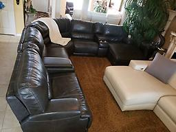 Macy's Warrin 7-Pc Triple Electric Reclining Charcoal Chaise Leather Sectional Set Macy's Warrin 7-Pc Triple Electric Reclining Charcoal Chaise Leather Sectional Set