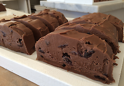CHOCOLATE CHERRY FUDGE Our famous chocolate fudge with Michigan dried cherries throughout