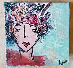 """Cousin Laverne """"Cousin Laverne drives a 1976 Firebird and loves to make an entrance."""" 4"""" by 4"""" canvas with 1.5"""" sides. Ready to hang."""