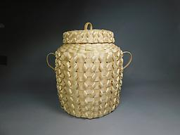 Fancy Lidded Basket ON EXHIBITION August 22nd - October 4th, 2020. It is available for purchase,delivery 10/18/2020. Hand harvested and processed black ash splints. Plaited weave with a loop overlay.