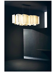 ALEXANDRA Suspension Lamp A new concept of lamp, created by overlapping thin fiberglass sheets, giving rise to a captivating light that is both light-weight and transparent.