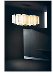 ALEXANDRA Suspension Lamp - A new concept of lamp, created by overlapping thin fiberglass sheets, giving rise to a captivating light that is both light-weight and transparent.