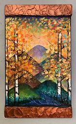 """Aspen Bloom Painting Class Saturday OCTOBER 17th 10am-1pm Create this vibrant painting on a 9""""x15"""" pretextured canvas with a BONUS wood edging. Sarah G. Keesen will lead you step by step to make this colorful piece!"""