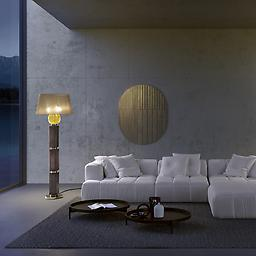 Art. 8173/P3 Matilda - Floor Lamp MATILDA - IP20 Floor Lamp with metal structure in light gold finish, coloured blown glass body and fabric shade. Available in different colours.