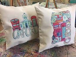 Oxford Mississippi Throw Pillow The Oxford Mississippi Throw Pillow is 17 x 17 inches square with a zip closure. The original print is hand painted by @artbyskd. Pillow includes a stuffer.