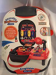 """Engineer in a tote Interactive Engineer Playset. It measures 12"""" tall and 8"""" wide. It contains 37 pieces and is recommended for ages 3 and up. Endless pretend play in a compact tote."""