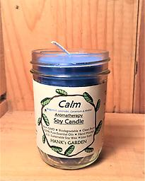 CALM Aromatherapy Soy Candle Clean Burning Soy Candles with 100% Pure Essential Oils of LAVENDER, BERGAMOT, GERANIUM & AMBER - Blue candle with Powdery/Floral Calming Aroma!