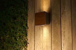 LAB 2 - OUTDOOR Wall Lamp IP65 Structure made of injected aluminium with frontal lids in metal, wood or stone-like, to be chosen.