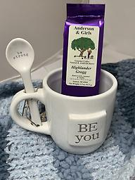 Be You Mug and coffee Be You Be Strong mug with spoon and 1.5 oz coffee. Choose from Cherry Streudel, Salted Caramel, Highlander Grogg.
