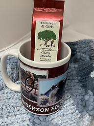 Anderson & Girls Picture Mug with coffee Anderson & Girls coffee mug featuring our favorite animals and a 1.5 oz package of Anderson & Girls coffee, choose from Cherry Streudel, Salted Caramel or Highlander Grogg.