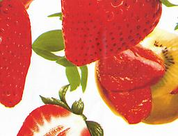 """B4- STRAWBERRY WHITE (F0232) Deluxe Flannel Back Vinyl Tablecloth. Order by the roll which is 54"""" wide x 15 yards long. The material is reusable and durable for both indoor and outdoor use"""