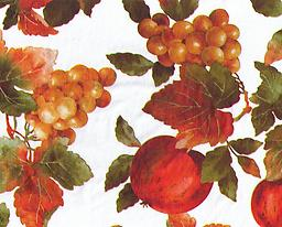 """B8- Apples and Fruit (F0234) Deluxe Flannel Back Vinyl Tablecloth. Order by the roll which is 54"""" wide x 15 yards long. The material is reusable and durable for both indoor and outdoor use."""