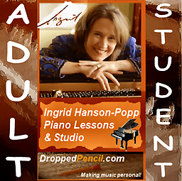 Ingrid Hanson-Popp 30 min. Piano Lesson (for ADULT students 18 years or older) Fee payment for a single 30 minute lesson (for ADULT Students 18 years or older) for Ingrid Hanson-Popp Piano Studio (Dropped Pencil LLC.) (Please PAY ONCE for whole month! Thanks!)