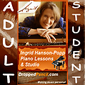 Ingrid Hanson-Popp 30 min. Piano Lesson (for ADULT students 18 years or older) - Fee payment for a single 30 minute lesson (for ADULT Students 18 years or older) for Ingrid Hanson-Popp Piano Studio (Dropped Pencil LLC.) (Please PAY ONCE for whole month! Thanks!)
